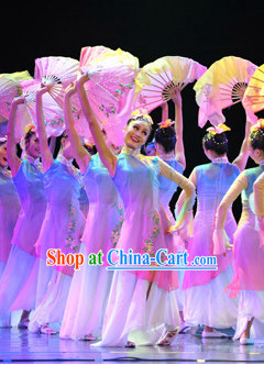 Traditional Chinese Fan Dancing Costume and Headdress Complete Set for Women