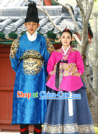 Traditional Korean Imperial Hanboks Dresses 2 Complete Sets