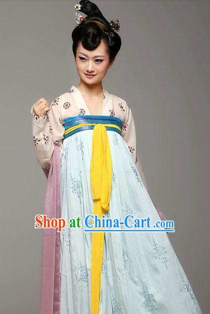 Chinese Traditional Tang Dynasty Female Dresses Complete Set