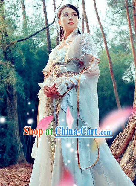 Ancient Chinese High Collar White Princess Dancewear and Headwear Complete Set