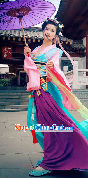 Chinese Purple Pink Princess Dresses and Umbrella Complete Set