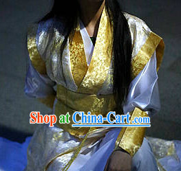 Chinese White Yellow Swordsman Costume Complete Set