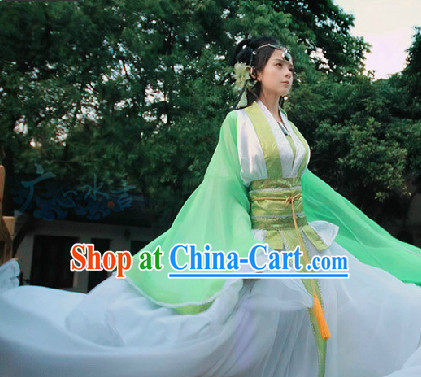 Chinese Green White Fairy Dresses Complete Set