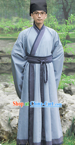 Traditional Chinese Han Fu Outfit and Hat Complete Set for Men