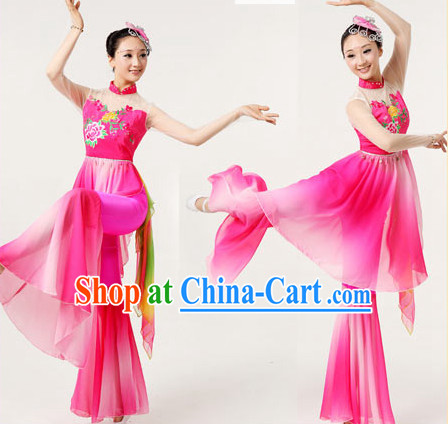 Professional Chinese Group Fan Dancewear and Headwear