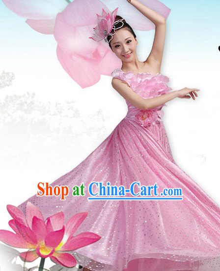 Professional Chinese Pink Lotus Dancing Costumes and Headwear Complete Set for Women