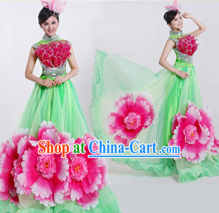 Professional Chinese Flower Dancing Costumes and Headwear Complete Set for Women