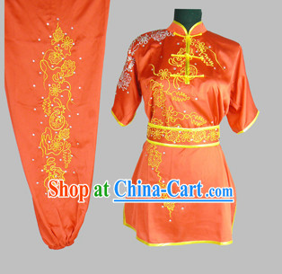 Chinese Classical Embroidery Kung Fu Competition Dresses Complete Set