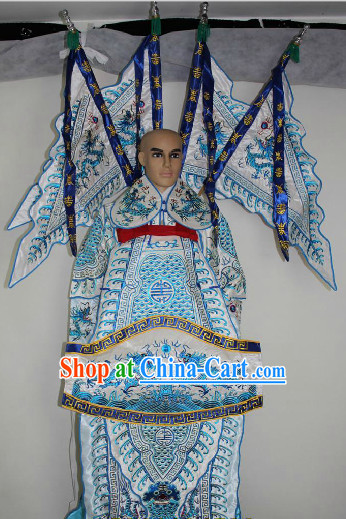 Chinese Ancient Zhao Yun Opera Costumes and Flags Complete Set