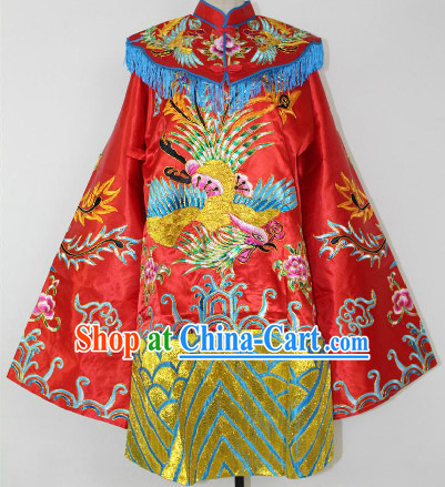 Chinese Ancient Red Embroidered Phoenix Wedding Robe for Brides