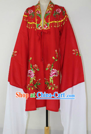Chinese Ancient Red Embroidered Flower Opera Hua Dan Dresses