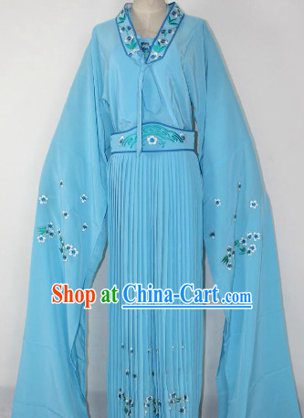 Chinese Ancient Blue Long Sleeves Dance Costumes