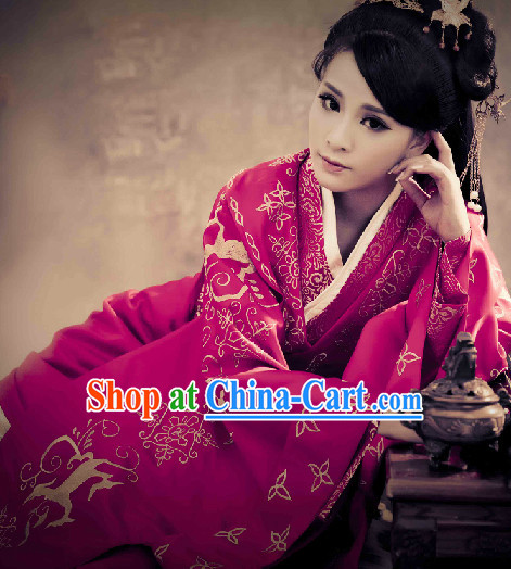 Ancient Chinese Purple Queen Costumes Complete Set