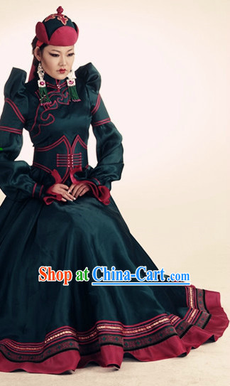 Mongolian Noblewoman Clothing and Hat Complete Set