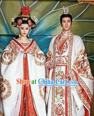 Ancient Chinese Tang Imperial Palace Emperor and Empress Wedding Dresses 2 Sets