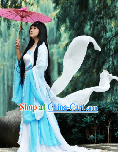 Blue and White Fairy Costumess and Umbrella Complete Set