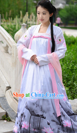 Tang Dynasty Lotus Lady Costumes and Hair Accessories Complete Set