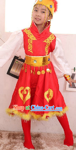 Traditional Mongolian Group Dancing Outfit for Kids
