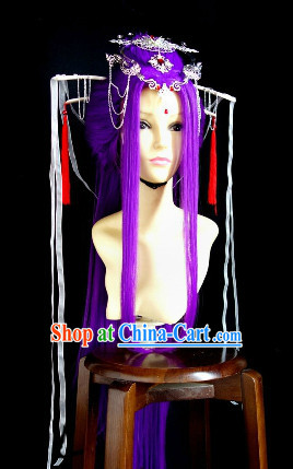 Ancient Purple Cosplay Wig and Hair Ornaments