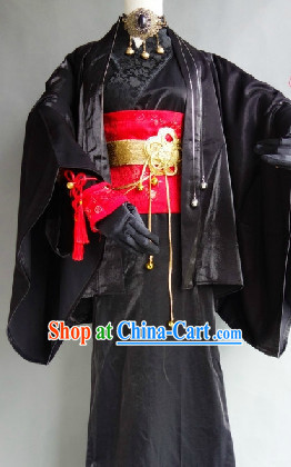 Black Classical Japanese Kimono Costumes for Men