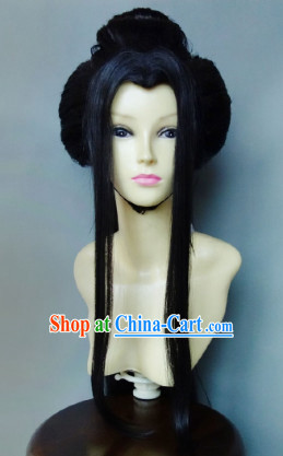 Ancient Chinese Style Long Black Beauty Wig for Girls