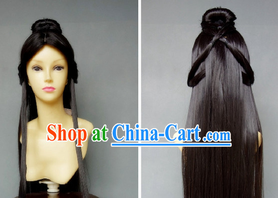 Ancient Chinese Style Long Black Fairy Wig for Girls
