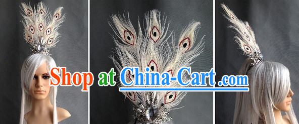 Ancient Chinese Style White Peacock Hair Accessories