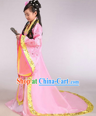 Ancient Chinese Kids Princess Clothes and Headwear Complete Set