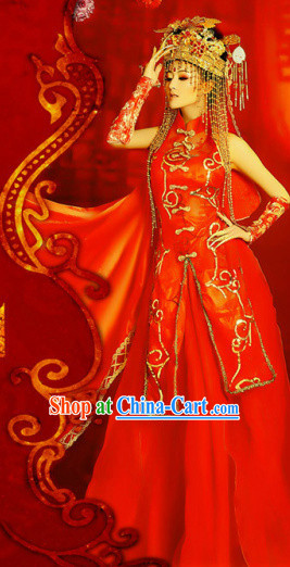 Chinese Classical Royal Wedding Dress and Headwear Complete Set