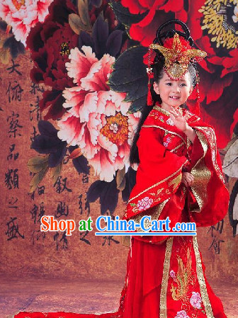 Ancient Chinese Red Empress Costumes for Children