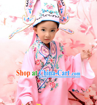 Traditional Peking Opera Costumes and Hat for Kids