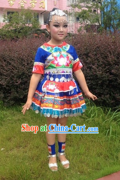 Miao Minority Clothing and Headwear Complete Set for Kids