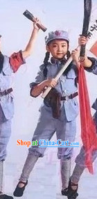 Chinese Red Army Costumes and Hat for Kids