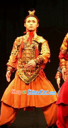 Ancient Chinese Terra Cotta Warrior Armor Costumes and Coronet Complete Set