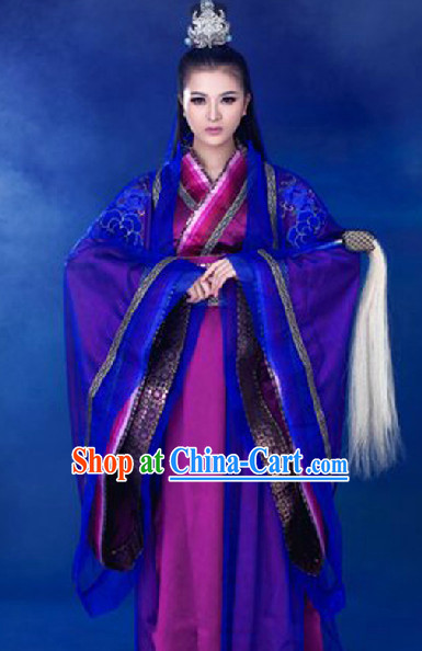 Ancient Chinese Swordswoman Costumes and Headwear Complete Set
