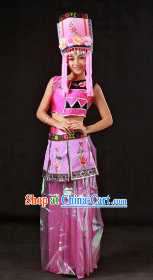 China Qiang People Ethnic Group Clothing and Hat Complete Set