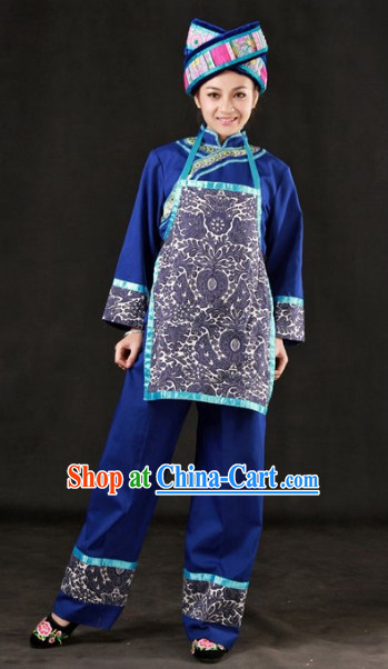 The Chinese Zhuang Ethnic Minority Clothes and Hat Complete Set