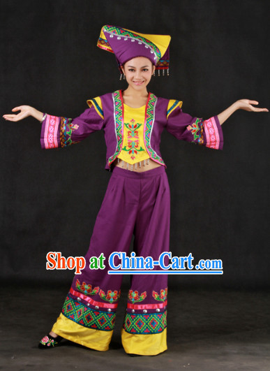 Zhuang People Clothes and Headwear Full Set