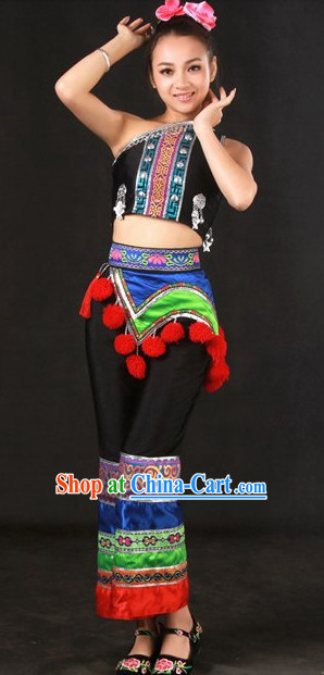 Yao Ethnic Minority Stage Costumes and Hat for Girls