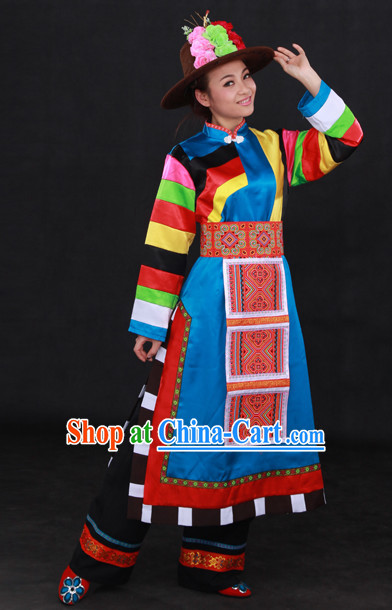 Tu Ethnic Minority Stage Costumes and Hat for Girls