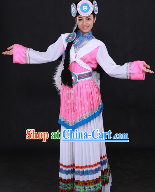 Naxi Female Clothing and Headwear Suit