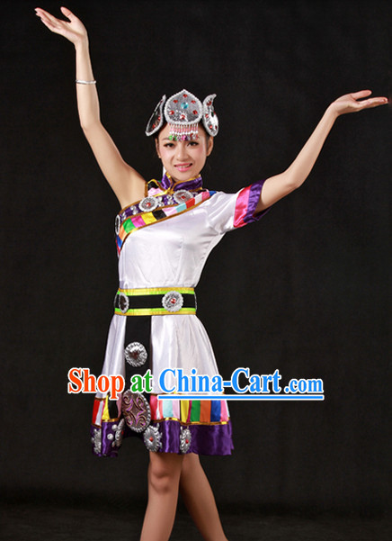 Traditional Chinese Tibetan Dance Costumes and Headwear for Women
