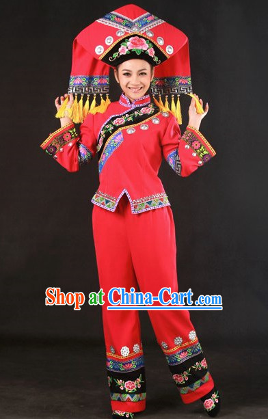 Traditional Chinese Zhuang Stage Performance Costumes and Hat