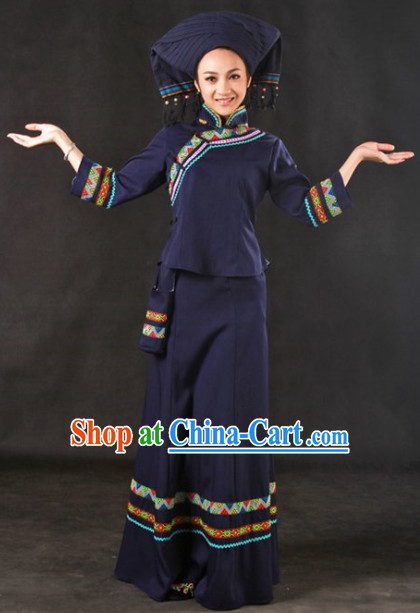 Traditional Chinese Zhuang Dance Costumes Outfit
