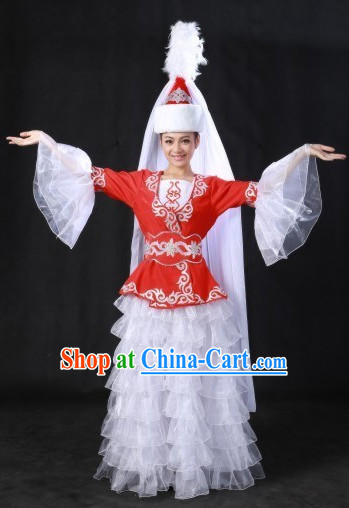 Kazakstan Nationality Costumes and Hat for Women