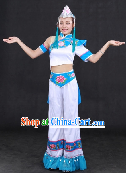 Yi Minority Folk Costumes and Hat Complete Set for Girls