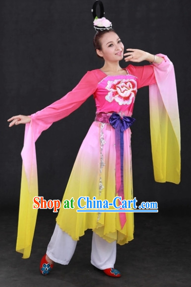 Long Sleeves National Dance Costumes and Headwear Complete Set for Women