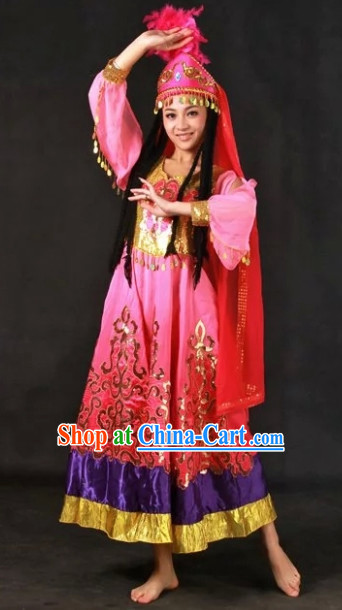 Xinjiang Ethnic Traditional Dresses and Hat Complete Set for Girls