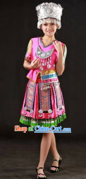 Miao Ethnic Traditional Outfits and Silver Hat Complete Set for Girls