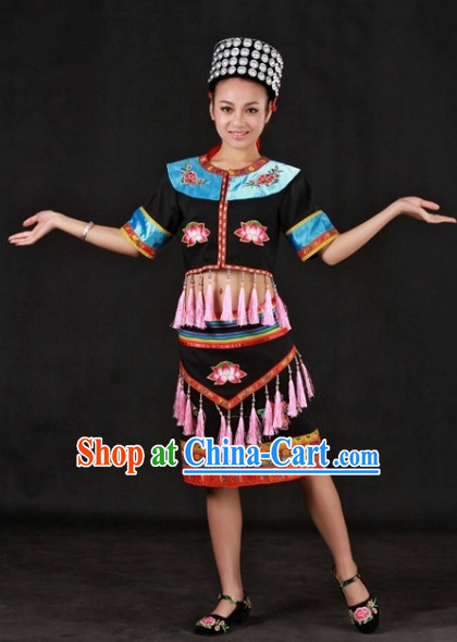 Yao Ethnic Traditional Outfit and Hat for Women